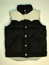 TRUE RELIGION STYLE:MJU9S82 COLOR:BLACK PUFFER VEST W/LEATHER YOKE SIZE:S.M.,BODY:100%NYLON,YOKE:100% LAMB SKIN,LINING:65% POLYESTER 35% COTTON,FILL:100% POLYESTER MADE IN CHINA